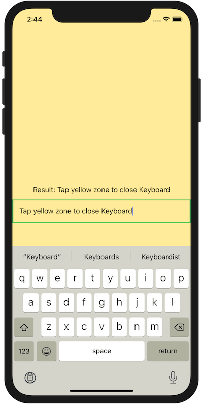 An image of demo of close keyboard